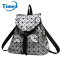 Geometric Women Backpacks 2017 New Design Plaid Drawstring Lady Double-shoulders Bag Travel Backbags Fashion Women's Backpack