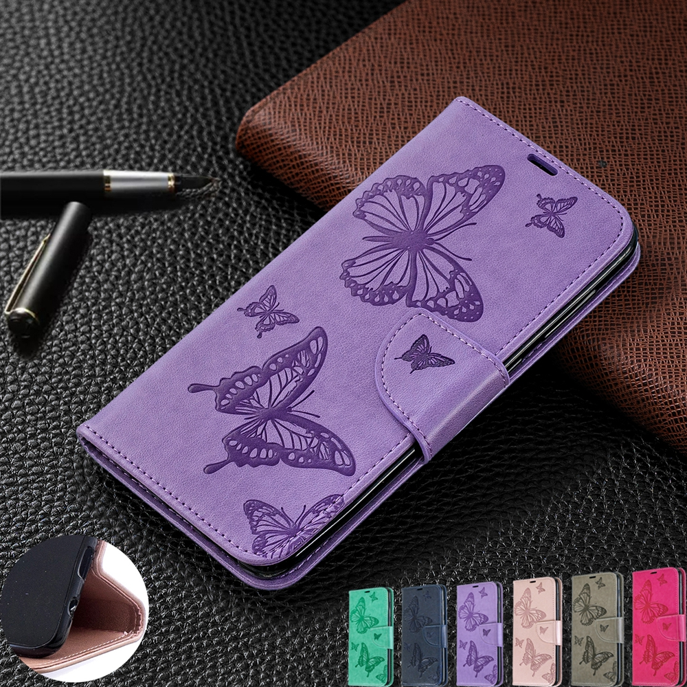A7 A6 2018 Phone Case for Samsung Galaxy A7 A6 2018 Case Butterfly Embossed PU Leather Cover for Samsung A6 Plus 2018 A750 Case