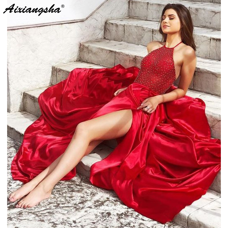 Red   Prom     Dresses   2019 A-Line Halter Satin Beaded Side Slit Party Maxys Sexy Long   Prom   Gown Evening   Dresses   Robe De Soiree