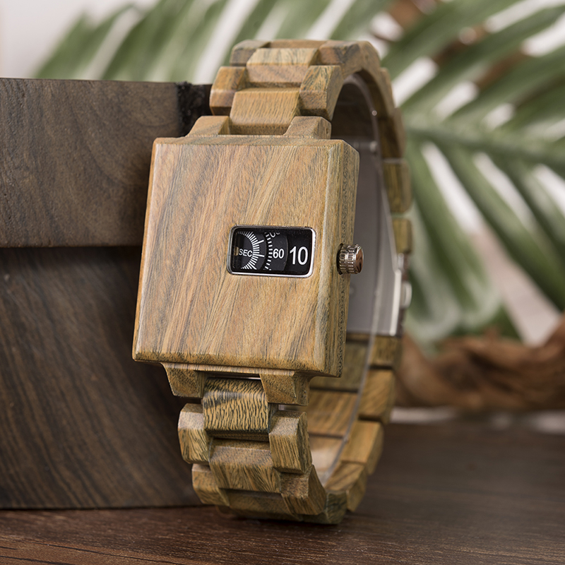 relogio masculino BOBOBIRD Wood Men Watch Elegant Square Design Delicate Small Dail relogio masculino Customized Watches C-dR23 wood