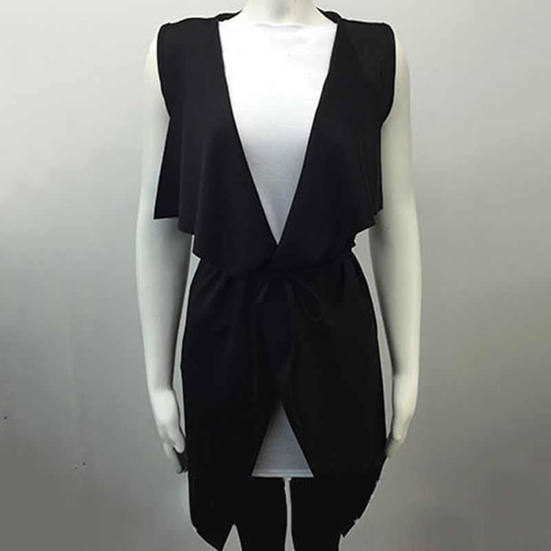 2019 Vrouwen Jas Herfst Mouwloze Elegant Waterval Cape Lange Vest Plus Size Diepe V Dames Jas Jas Windscherm W1
