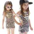 2016 girls sport clothes suit Leopard vest + shorts summer supermen printed clothing set
