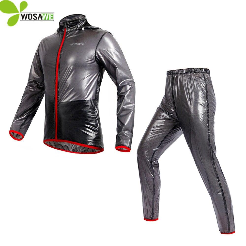 WOSAWE Rainproof Cycling Rain Jackets Set Men Waterproof TPU Hooded Suit Bicycle Road Clothes Cycle Clothing