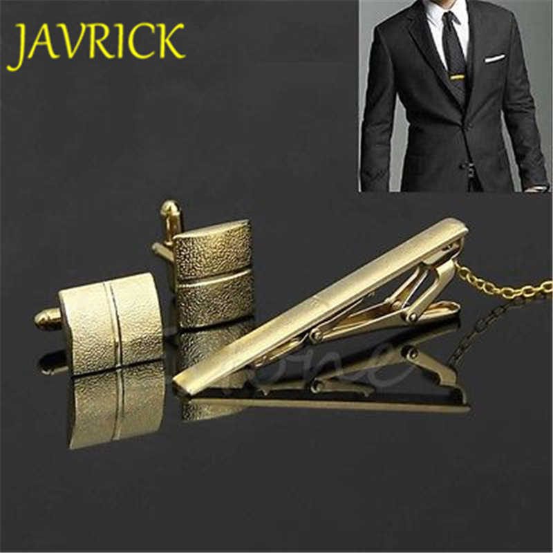40dc54745ce1 New Stylish Men Plating Metal Necktie Tie Bar Clasp Clip Cufflinks Set Gold  Gift Stainless Steel
