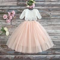 5400 Eyelash Lace Princess Spring Summer Baby Girl Clothing Set 2P Top T shirt Outwear + Long Skirt Wholesale Baby Girls Clothes