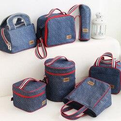 Джинсовые функциональные сумки для ланча, детский школьный мешочек для отдыха, домашнего пикника, еды, термокулер, изолированные аксессуар...