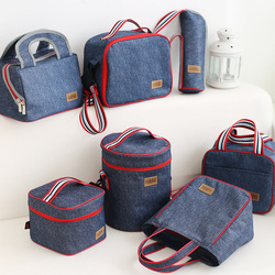 Denim funcional almoço sacos da escola do miúdo bolsa lazer casa piquenique comida térmico refrigerador isolado acessórios suprimentos produtos