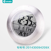 Hot Sale Waterproof Shower Time Watch Digital Bathroom Kitchen Wall Clocks Silver Big Temperature Display LCD