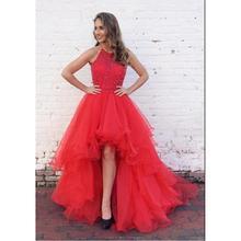 d0ad2ba1bd8 Red High Low Prom Dresses 2019 vestidos de fiesta de noche Formal Women Evening  Gowns Custom