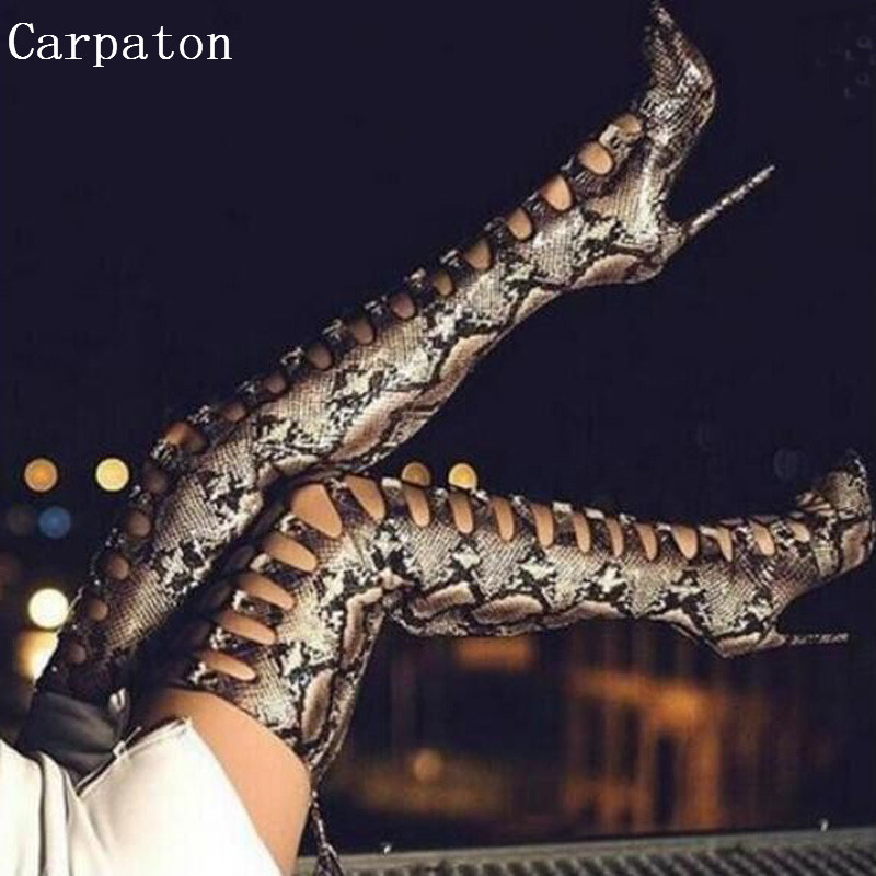 Sexy Python Leather Thigh High Long Boots Over the Knee Hollow Out Pointed Toe High Heel Women Nightclub Stiletto Boots Shoes