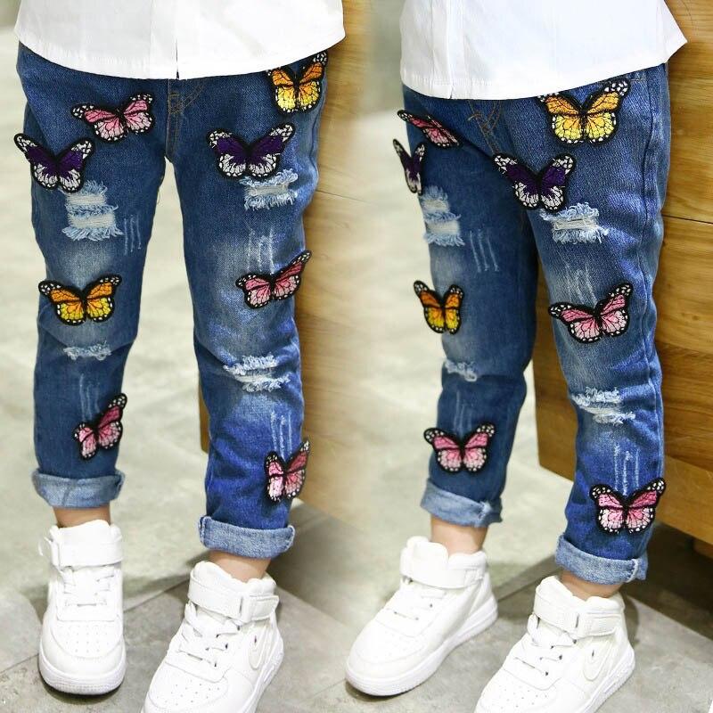 Kinder Mädchen Ripped Löcher Jeans Schmetterling Dekor Taschen Design Slim Fit Hosen Für Frühling Yjs Dropship Jeans