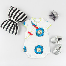 blue flower cheongsam fashion 100%Cotton Sleeveless Clothing Similar Jumpsuit Printed Baby Girl Bodysuits baby girl clothes