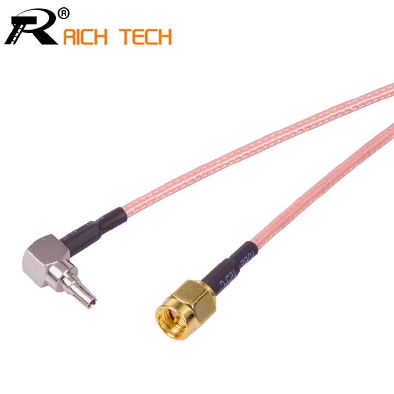 Custom Coaxial RF Cable 3G modem wholesale RG316 pigtail Cable SMA Switch CRC9 Right Angle adapter Male to Male connector 50cm pigtail coaxial jumper cable rg316 extension cord 20inch n male to ts9 male both plug right angle rf adapter connector