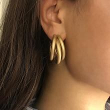 цена на Stud Earrings Irregular Matt Geometric Earrings For Women Retro Simple C-shaped Tube Jewelry Fashion Bohemian Big Earring