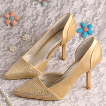 Wedopus MW1002 Gold Women Crystal Wedding Prom Shoes Pointed Toe 9.5CM Heel Dropshipping