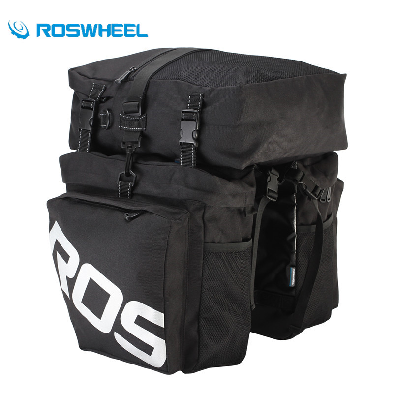 ROSWHEEL Bike Bag 3 in 1 Waterproof 37L Large Capacity Cycling Rear Rack Pannier MTB Mountain Road Bike Seat Storage Bicycle Bag roswheel mtb bike bag 10l full waterproof bicycle saddle bag mountain bike rear seat bag cycling tail bag bicycle accessories