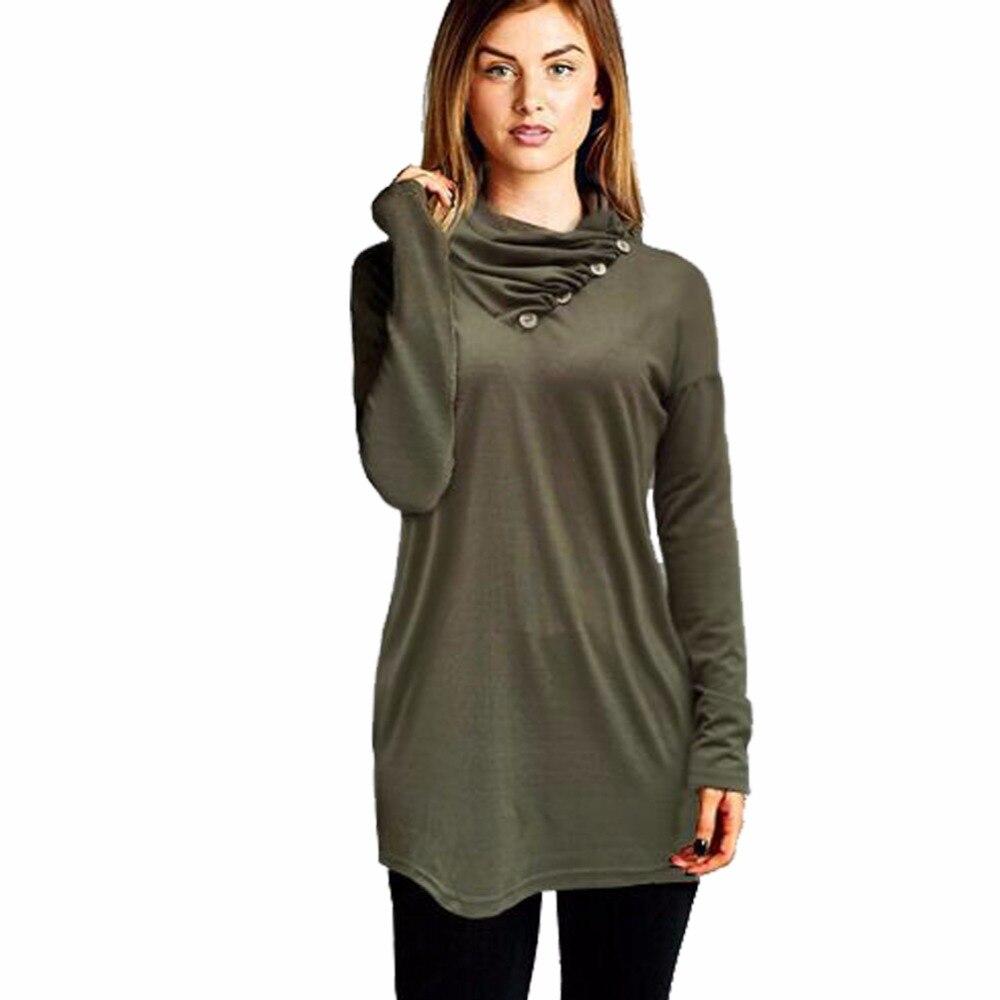 2017 New autumn t shirt women button solid women tops long sleeve women t shirt casual