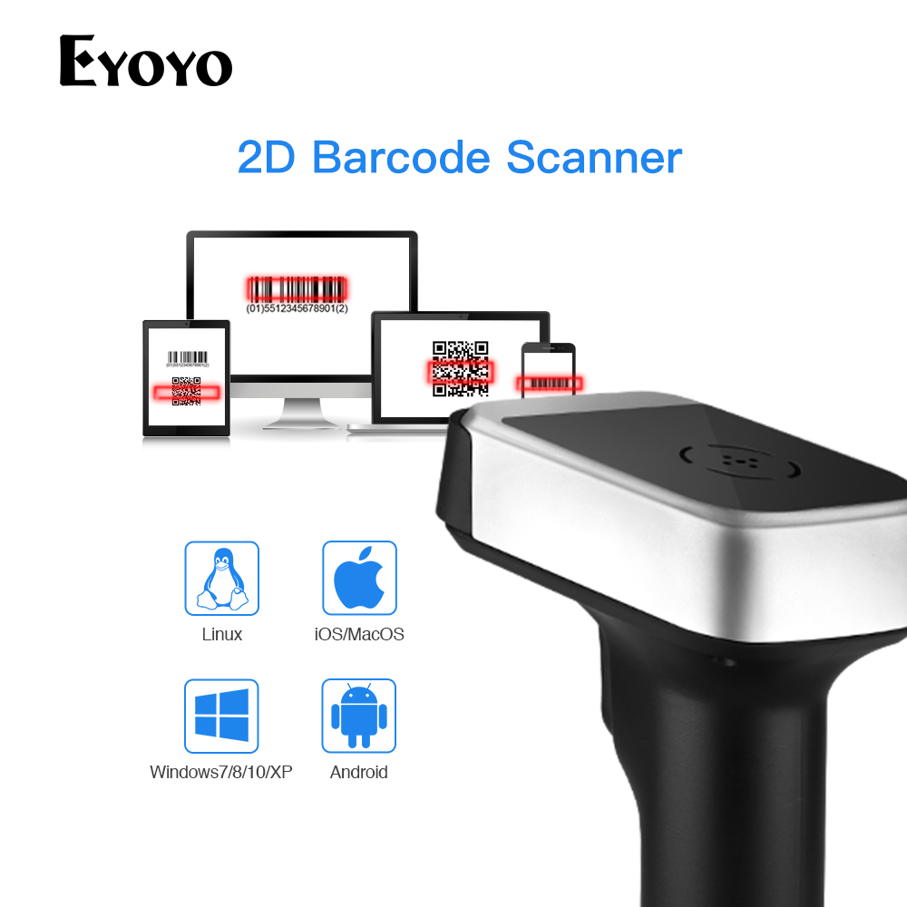 Eyoyo Wireless Barcode Scanner Windows Data Handheld 2D QR for PDF417 Matrix UPC Compatible