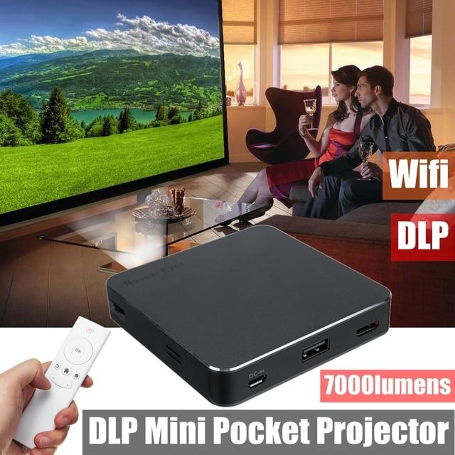 Best Offers DLP-S5 Wifi DLP 7000 Lumens HD 1080P Mini P ocket LED Video Projector HD USB Multimedia P ocket Projektor