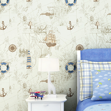 Children's room wallpaper Mediterranean sailboat pattern bedroom boy warm cartoon girl non-woven wallpapers цена 2017