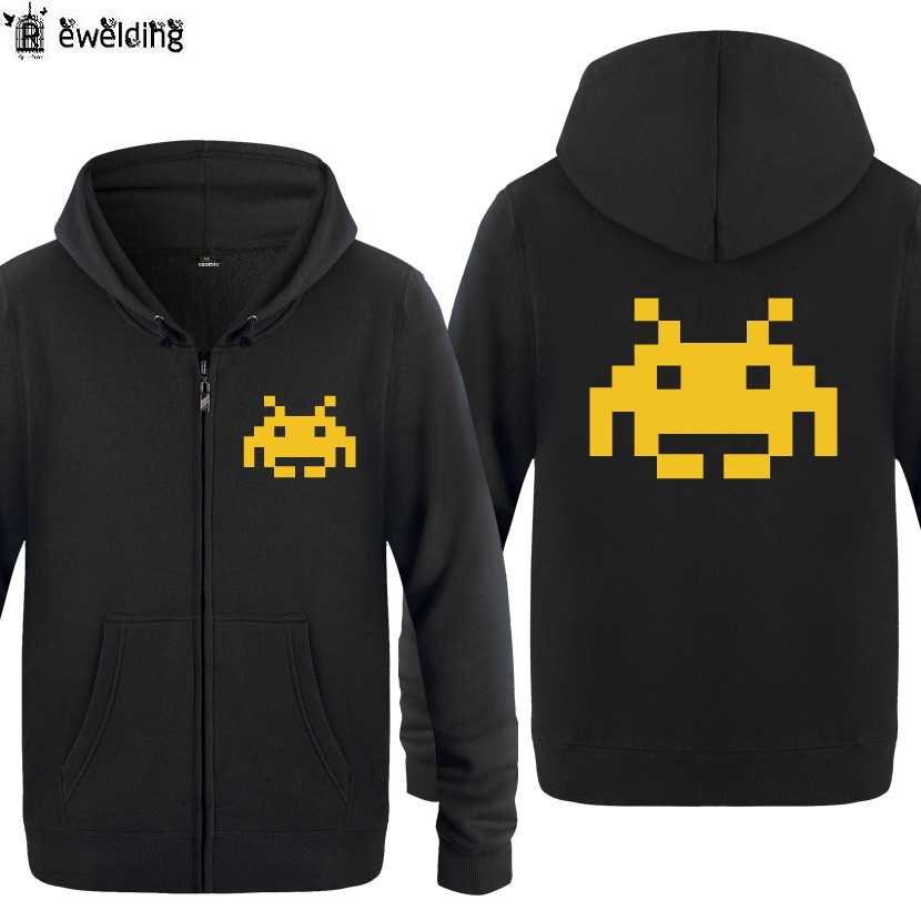 Zipper Hoodies Men Game Space Invader Printed Mens Hoodie Fleece Long Sleeve Mans Jacket Sweatshirt Skateboard Coat Oversized