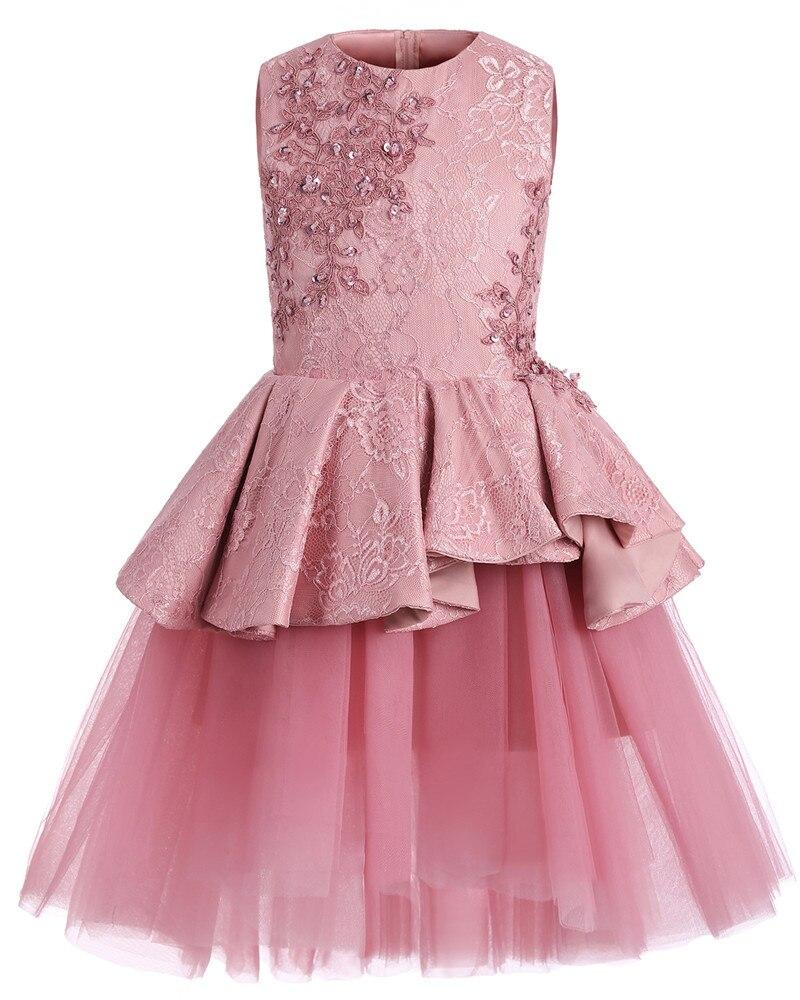 Enfants mode robe fille princesse fleur mariage rose robe enfants fille effectuer Costume Catwalk fête d'anniversaire mignon robe - 2
