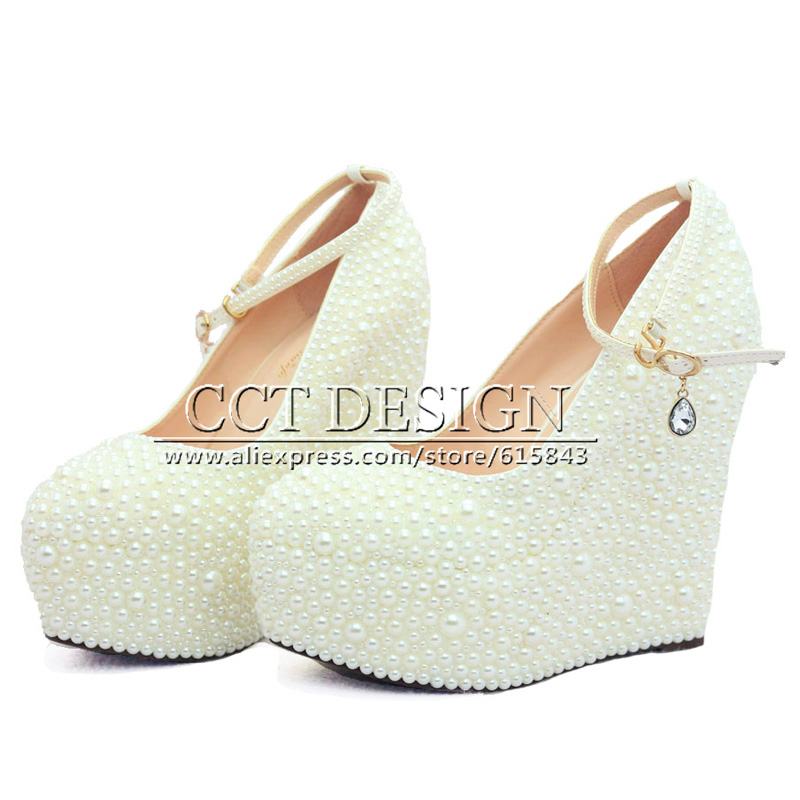 46f865eb36bc 2016 New Fashion Women Pump Wedges Wedding Shoes White Ivory Pearl Party  Shoes High Heel Platform Bridal Shoes-in Women s Pumps from Shoes on  Aliexpress.com ...