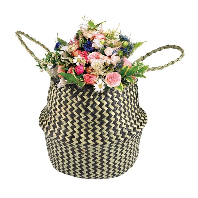 Seagrass Woven Tote Belly Basket Foldable Toy Storage Organizer Home  Planter Handmade Decorative Flowerpot Garden Pot
