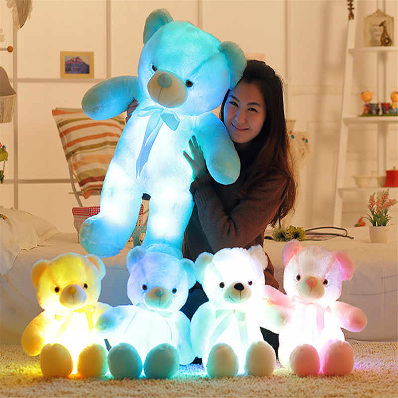 30 cm/50 cm Creativo Light Up LED Teddy Bear Farcito Animali di Peluche Peluche Giocattolo Colorato Incandescente Teddy Bear Di Natale regalo per I Bambini