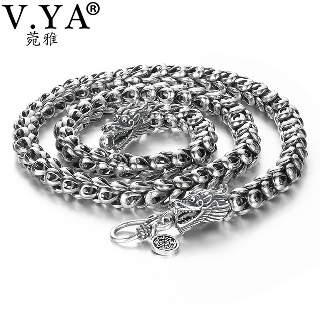 a6d43f41c0f0b0 V.YA Heavy Men's Necklace 925 Sterling Silver Necklaces Chains Men Male  Cool Dragon Jewelry collier homme 46-60cm