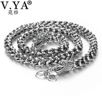 V.YA Heavy Men's Necklace 925 Sterling Silver Necklaces Chains Men Male Cool Dragon Jewelry collier homme 46 60cm