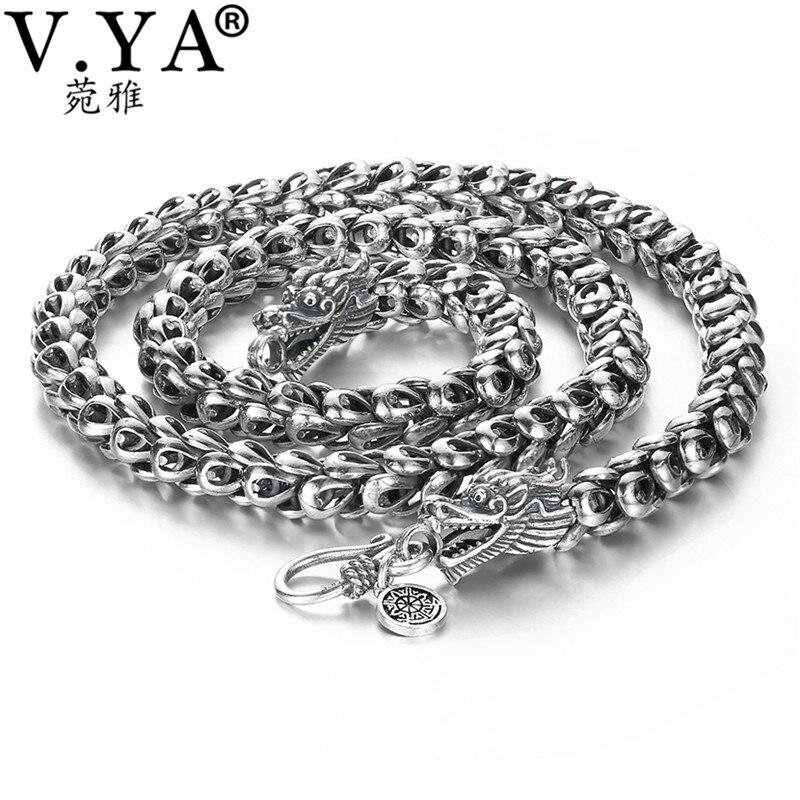 V. YA Heavy hommes collier 925 en argent Sterling colliers chaînes hommes mâle Cool Dragon bijoux collier homme 46-60cm