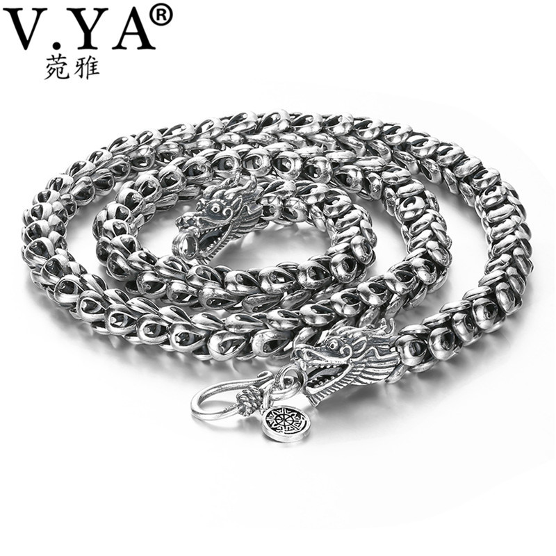 V. YA ciężki męska naszyjnik 925 Sterling Silver naszyjniki łańcuchy mężczyzn mężczyzna fajny smok biżuteria collier homme 46 60cm w Naszyjniki łańcuszkowe od Biżuteria i akcesoria na  Grupa 1