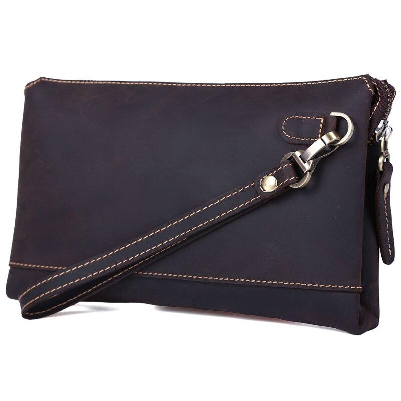 TIDING Mens genuine leather business clutch bags male brown wrist bag small handbag 4058