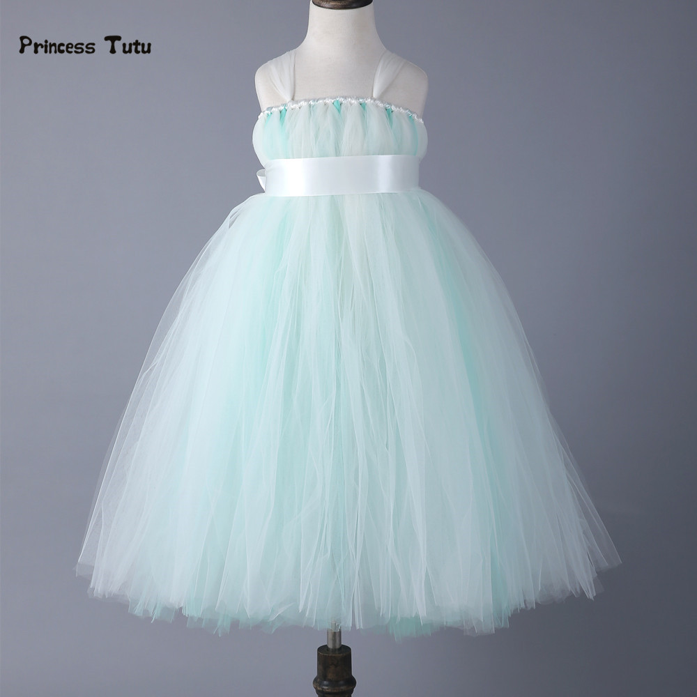 Girls Party Tutu Dress With Ribbons Sashes Piano Dress Mint Green Tulle Flower Girl Princess Dress For Kids Pageant Performance baby fashion prom ball gowns tea length bateau neckline tulle flower mint blue tutu vestidos backless back mint girls dress