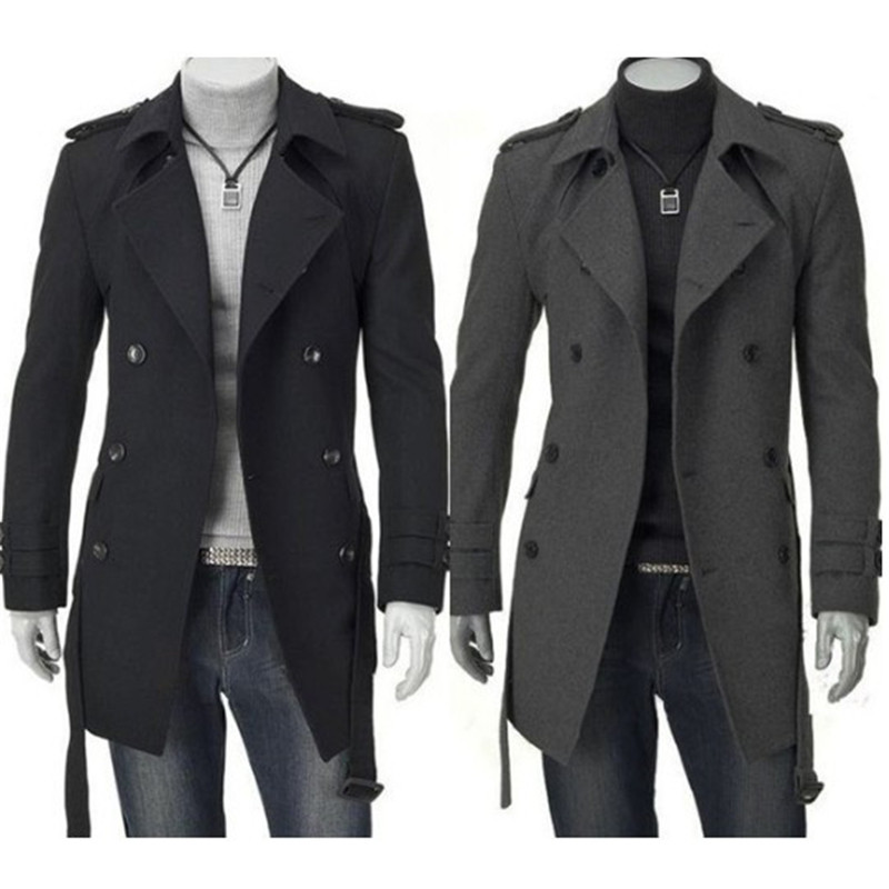 Outwear Jackets Cardigan Business-Clothes Long-Coat Faux-Wool-Trench Black Winter Fashion