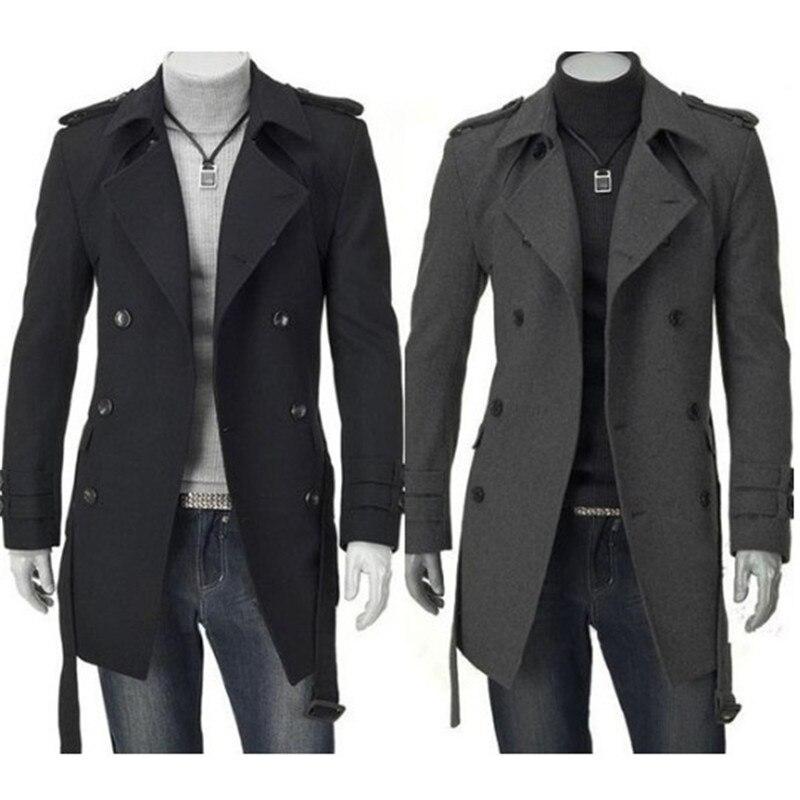 Модные зимние Для мужчин Куртки Черный Серый из искусственной шерсти Тренч Для мужчин кардиган Бизнес одежда Slim Fit поясом длинное пальто му...