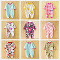 0-12M Spring Autumn Newborn Baby Boys Girls Rompers Random Delivery Long Sleeve Fleece Front Button Footed Coverall Jumpsuit V20