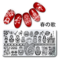 2016 Newly  1Pc Rectangle Stamping Plate Russian Doll Pattern Nail Art Plate Harunouta L028