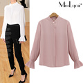 XXXL 4XL 5XL Plus Size Women Shirt 2017 Fashion Elegant Style Stand Collar Pleated Flare Long Sleeve Loose Casual Chiffon Blouse