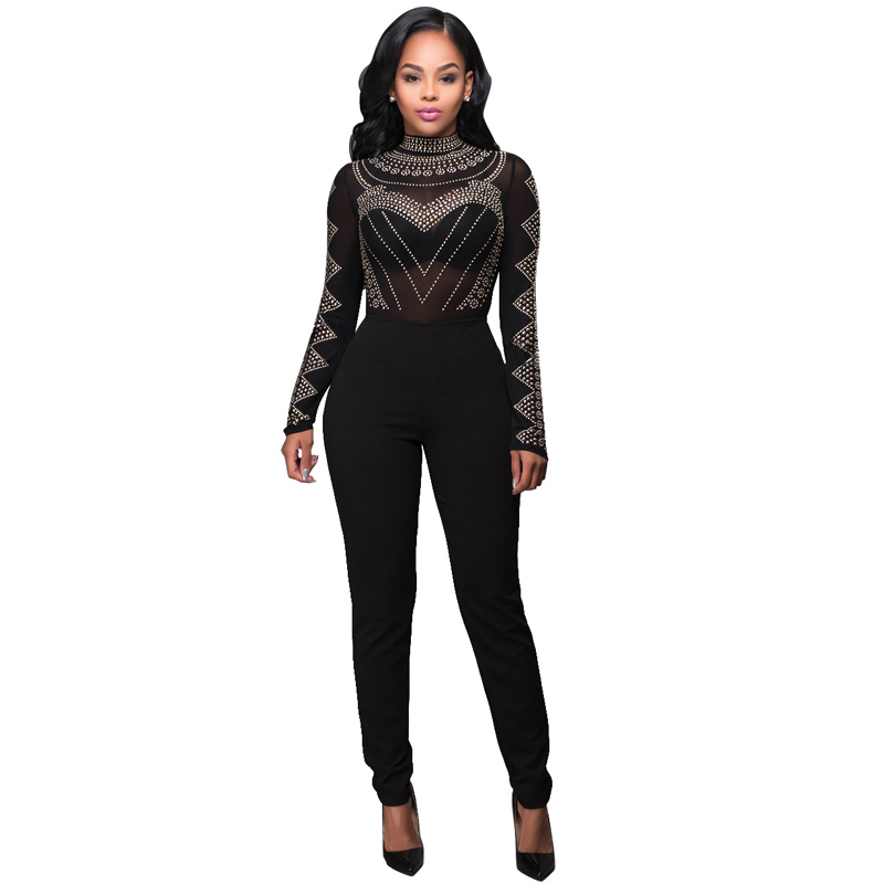 Sexy mesh print Bandage Jumpsuit 2018 Women long sleeve Turtleneck Bodycon Romper tunic Party black Clubwear nightclub Overalls ...