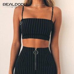 Realpopu Casual Gestreiften Leibchen Femme Slash Neck Damen Streetwear Crop Top Chic Ring Straps Bodycon Schwarz Dünne Camis Sommer