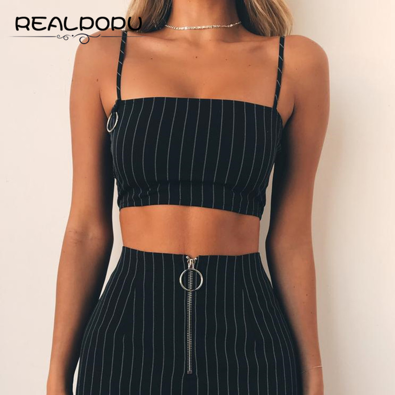 Realpopu Casual Striped Camisole Femme Slash Neck Ladies Streetwear Crop Top Chic Ring Straps Bodycon Black Skinny Camis Summer