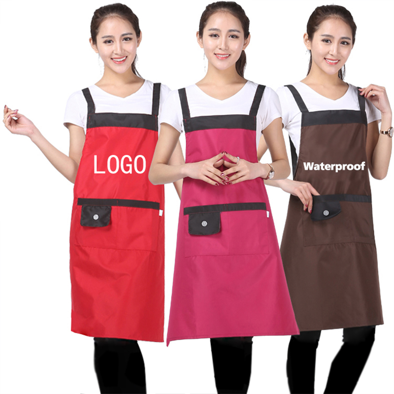 Unisex Waterproof Aprons with Front Pocket Chefs Butchers Home Kitchen Restaurant Cookware Craft Baking Cooking Print Logo Image