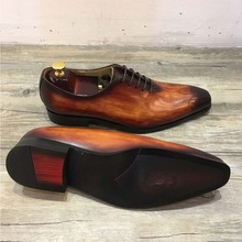 Designer mens patina leather dress oxfords italian real cow leather
