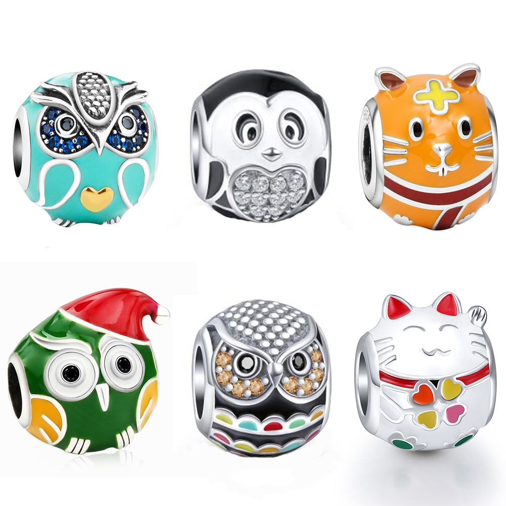 New Arrival Owl Cat Tiger Animal Beads Fit Authentic Pandora Charms Bracelet Silver 925 Original Berloque For Women Jewelry