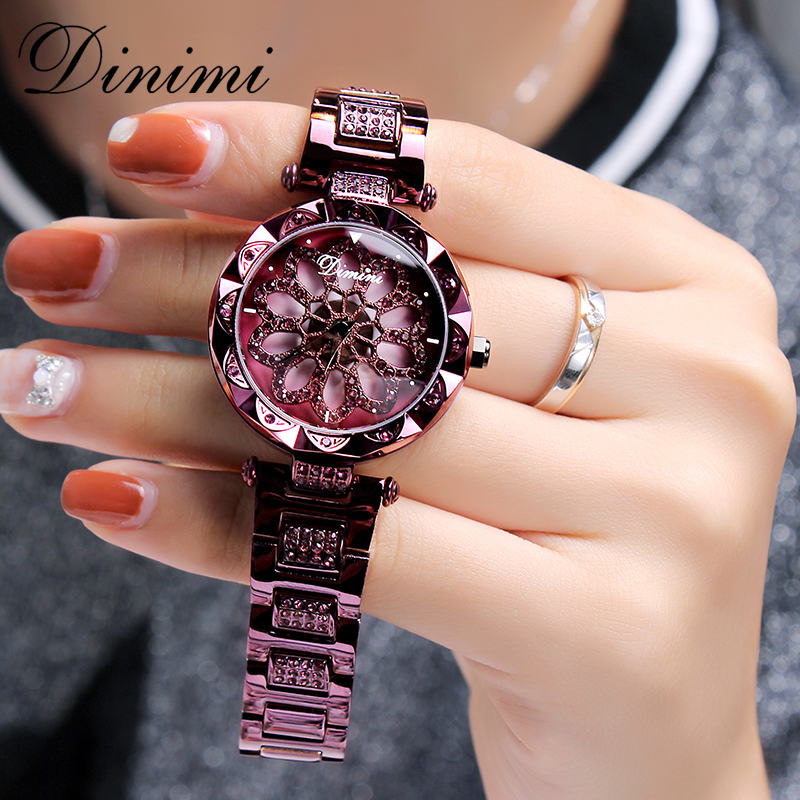 Dimini moda luksusowe kobiety zegarki diament zegarek dla kobiet zegarek kwarcowy zegarek na rękę ze stali nierdzewnej złota panie zegarki Dropshipping prezenty w Zegarki damskie od Zegarki na  Grupa 1