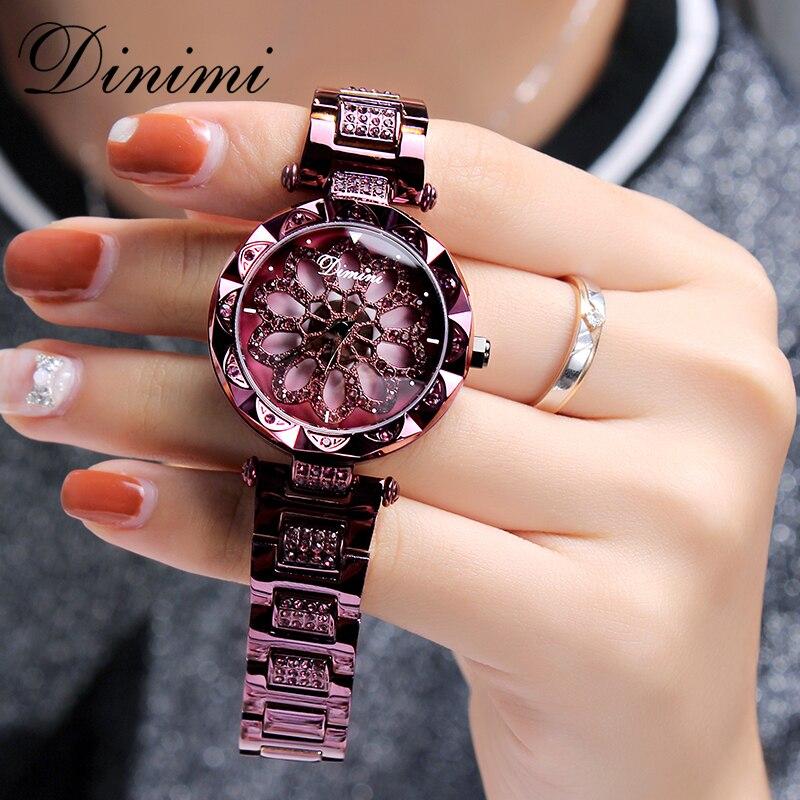 Dimini mode de luxe femmes montres diamant dame montre Quartz montre-bracelet en acier inoxydable or dames montres livraison directe cadeaux