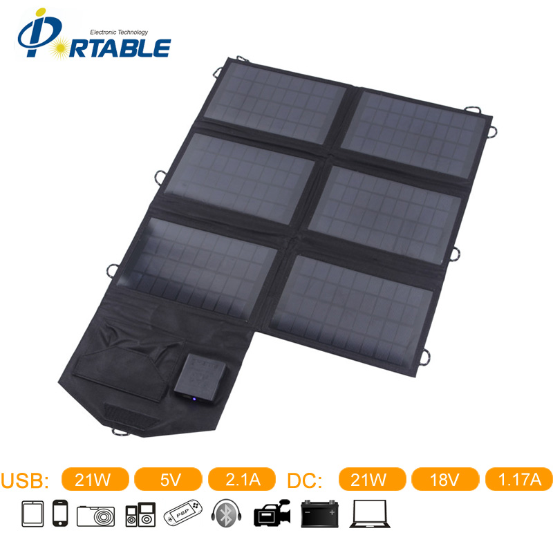Portable 18V 21W Solar Panel Charger Dual Output Solar Charger For Laptop, Tablet, Mobile Phone, All The USB Devices