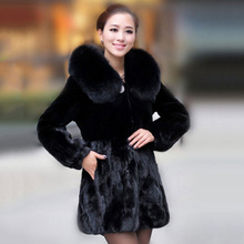 2016 100% real Lady mink fur coat with hoody and fox fur trim rex rabbit fur natural long coat female overcoat genuine fur coat